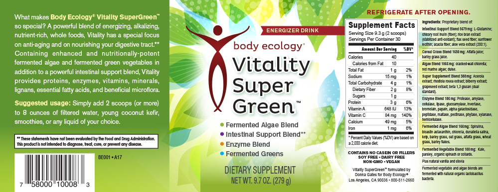 Vitality SuperGreen Nutritional Information