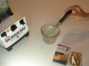 dissolve the starter kit with warm water into a measuring mix