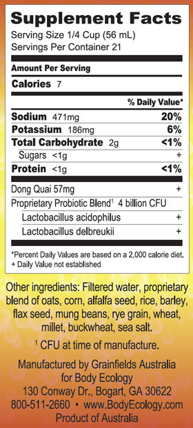 Dong Quai 1250mL Nutritional Information