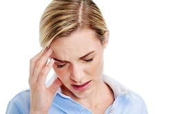 Young businesswoman has splitting headache pain migraine