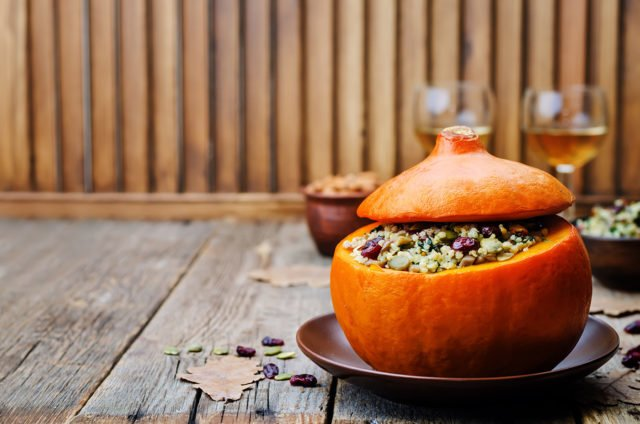 pumpkin stuffed with millet spinach dried cranberries mushrooms and almonds